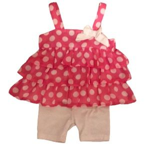Bubblegum pink polka dot outfit